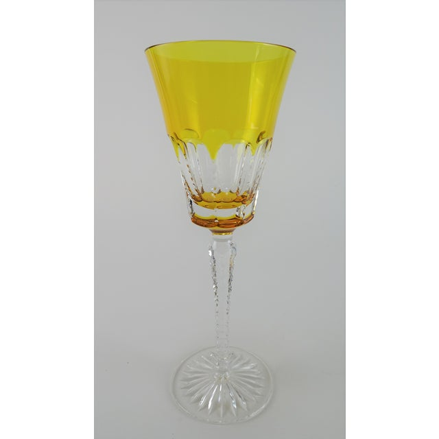 Orange Late 20th Century Ajka Lynn Lausanne Amber Gold Water Goblet For Sale - Image 8 of 8