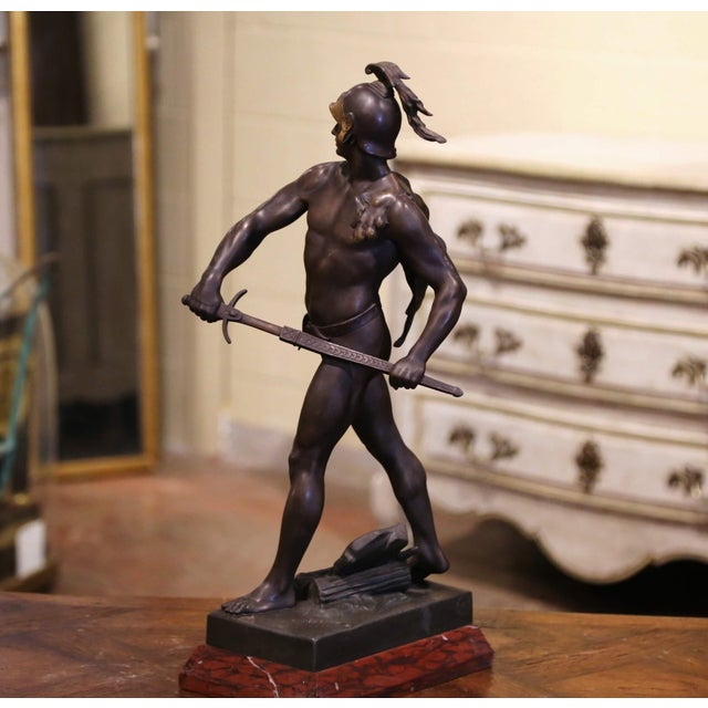 """Black 19th Century French Spelter Sculpture Titled """"Honor-Patria"""" Signed E. Picault For Sale - Image 8 of 12"""