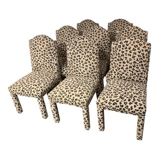 Set of 8 Leopard Print Parsons Dining Chairs For Sale