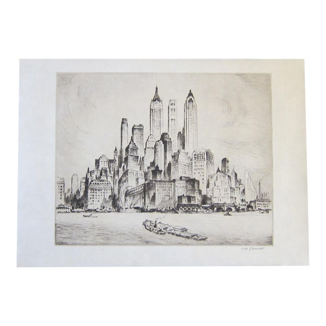 """Vintage Nat Lowell """"Tip of Manhattan"""" Ca. 1940 Signed Limited Edition Etching the Battery, Lower Manhattan, Original Label, Professionally Conserved For Sale"""