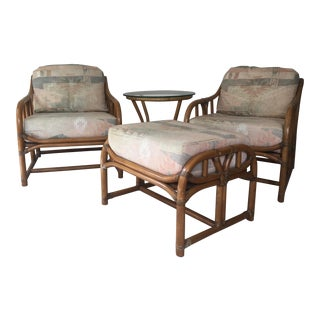 Vintage Ficks Reed Loungers With Ottoman and Table Set - 4 Pc. For Sale