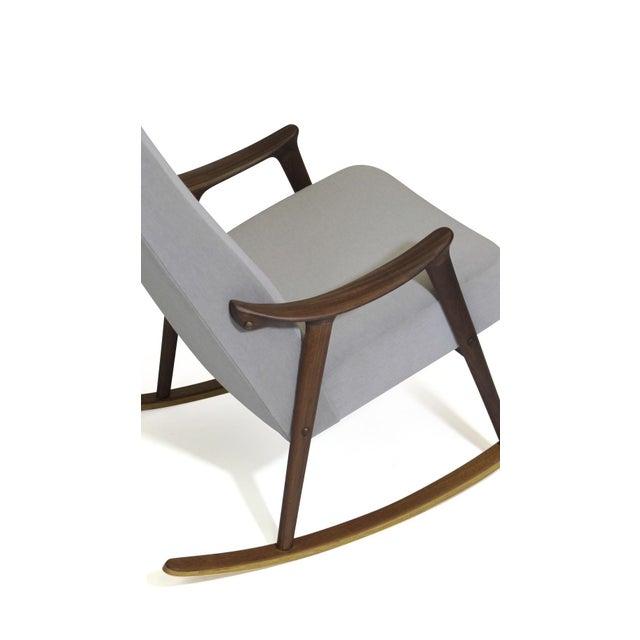 Wood Scandinavian Highback Rocking Chair in Alpaca Mohair For Sale - Image 7 of 10