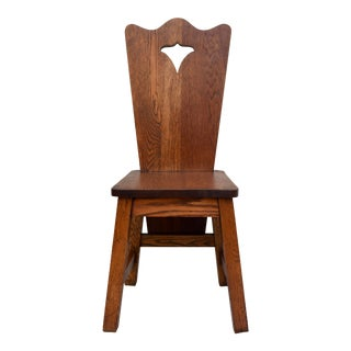 Arts & Crafts Solid Oak Chair For Sale