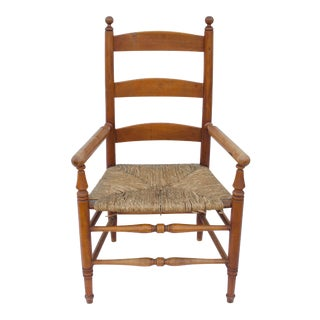 19th Century American Maple Ladder-Back Armchair