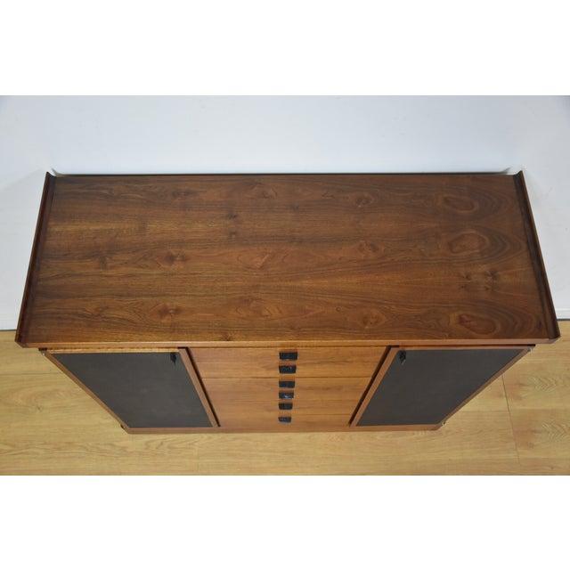 Walnut and Black Vinyl Armoire Dresser - Image 10 of 11