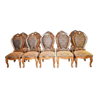 Aico Carved Tuscan Style Dining Chairs with Marble Insert - Set of 10 For Sale