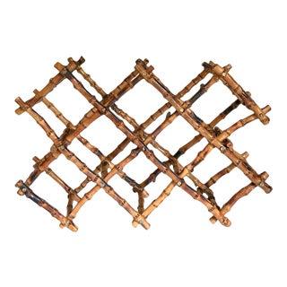 Folding Wine Rack Burnt Bamboo Chinoiserie For Sale