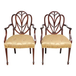 19th Century French Solid Mahogany Armchairs - A Pair