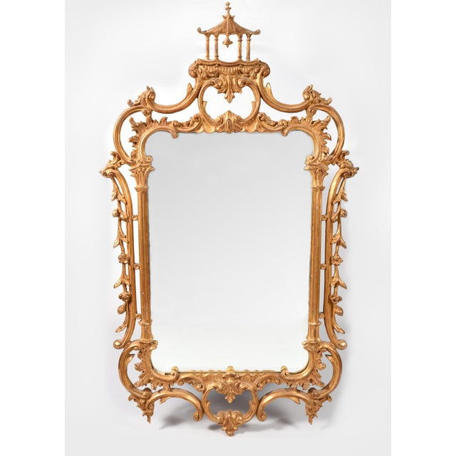 Gold Early 20th Century Carved Wood Chippendale Style Beveled Hanging Wall Mirror For Sale - Image 8 of 8