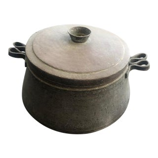 Large Decorative Round Copper Box With Lid For Sale