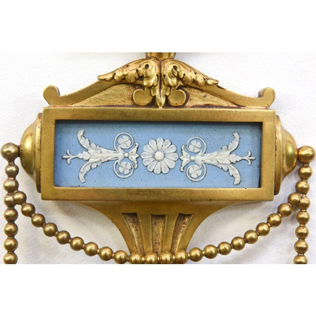 Pair of Cast Brass Wedgewood Sconces For Sale - Image 4 of 12