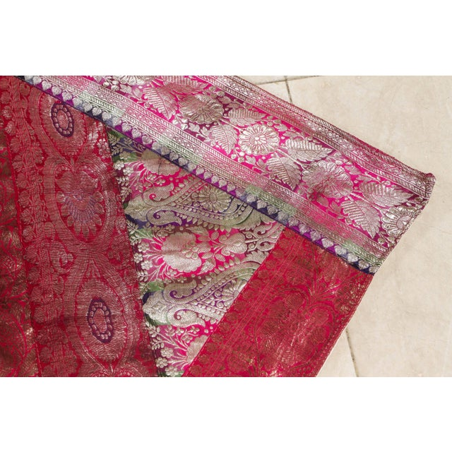 Polychrome Indian Silk Sari Tapestry Quilt Patchwork Bedcover Fuchsia Color For Sale - Image 7 of 10