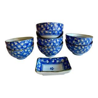 Ceramic Set of Nine Blue & White Floral Asian Bowls For Sale