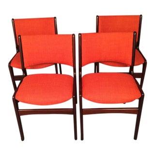Danish Mid-Century Dinning Chairs With New Orange Fabric - Set of 4