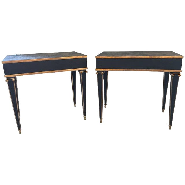 Maison Jansen Style End Table in Leather Top and Bronze-Mounted Legs - A Pair For Sale - Image 11 of 11