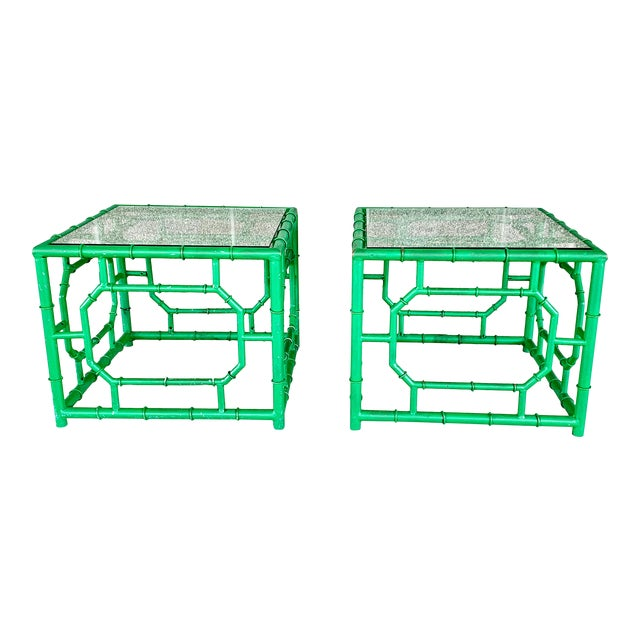 Vintage Hollywood Regency Style Faux Bamboo Side Table-A Pair For Sale