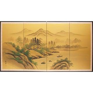 1960's Japanese Gold Silk River Scene Byobu Screen For Sale