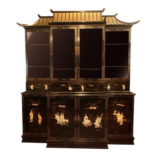 Monumental Black Lacquer Chinoiserie Pagoda Cabinet For Sale