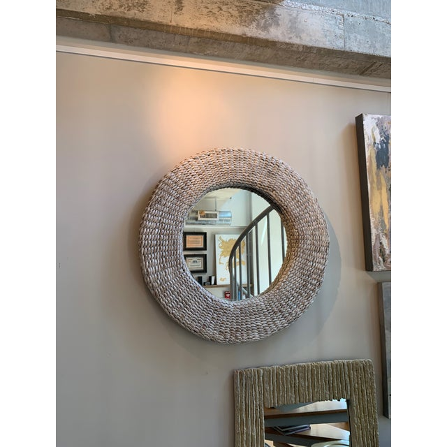 Rattan White Washed Round Wall Mirror For Sale - Image 4 of 4