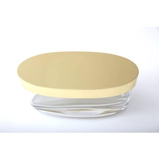 Oval-Form Lidded Box in Crystal and Brass by Fontana Arte Preview