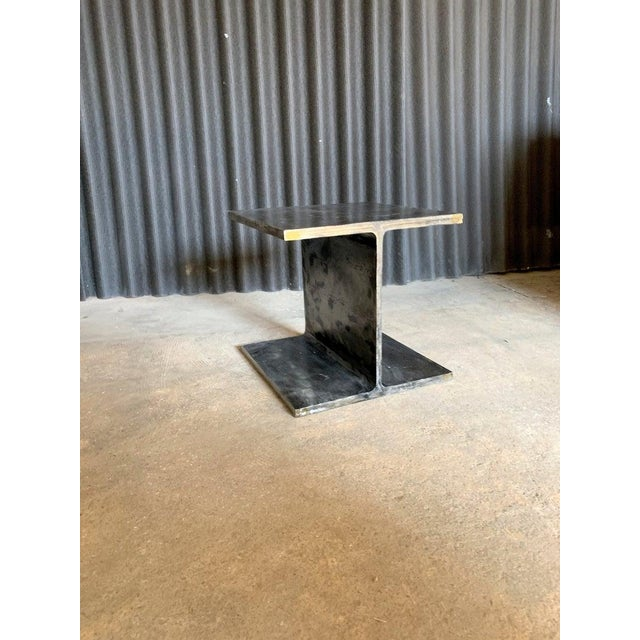 Brown 1970s Ward Bennett Steel I Beam Occasional Table For Sale - Image 8 of 9