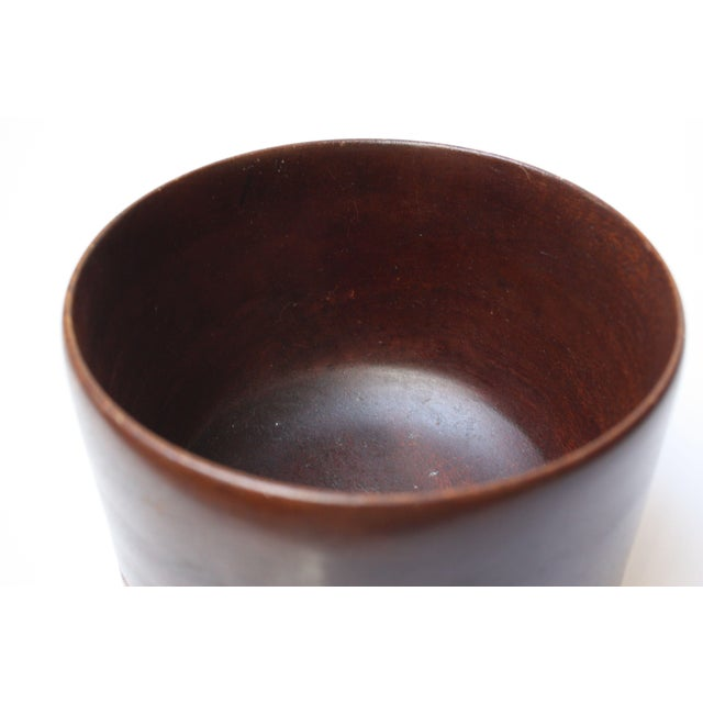 Mid Century Modern Turned Teak Bowl For Sale - Image 5 of 8