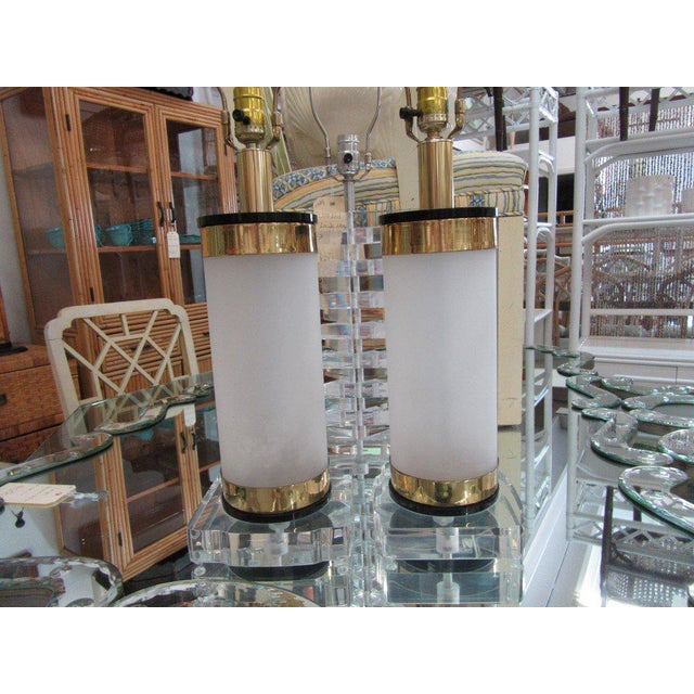 Brass & Lucite Bauer Lamps - A Pair - Image 3 of 8