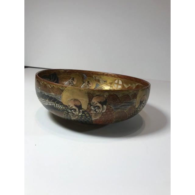 Ceramic 1940s Antique Japanese Satsuma Hand Painted 2 Sided Golden Porcelain Bowl For Sale - Image 7 of 13