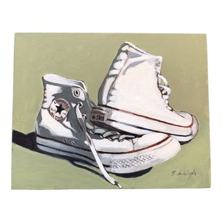 """Original Stephen Heigh Contemporary Illustration Painting """"Allstar"""" Converse Sneakers For Sale"""