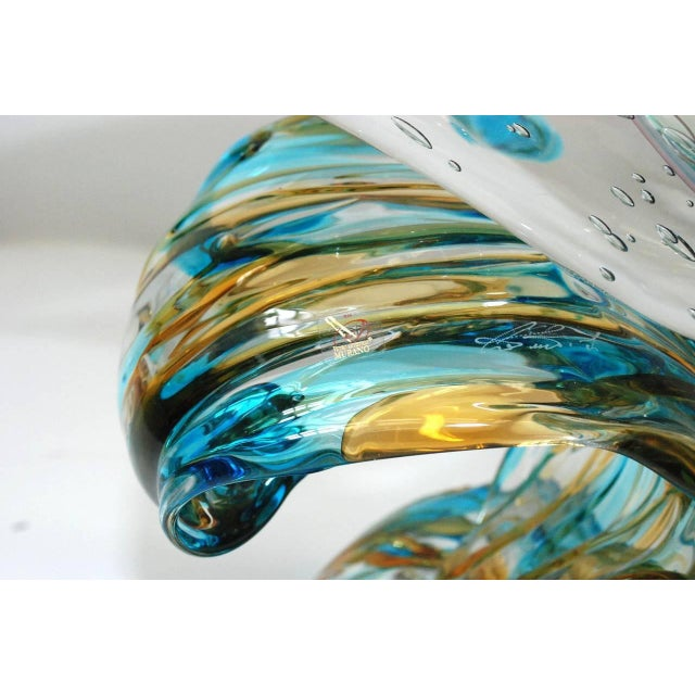 Mid 20th Century Dolphin on Wave Murano Glass Sculpture by Sergio Costantini For Sale - Image 5 of 7