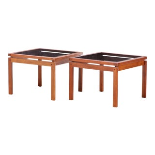 Mid-Century Danish Modern Smoke Glass Top Teak Side Tables - a Pair For Sale