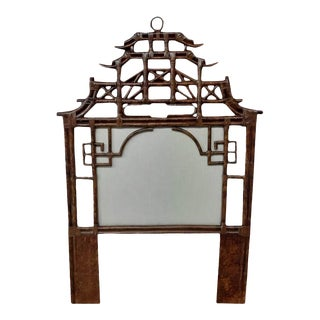 Pagoda Twin Headboard, Brown, Rattan For Sale