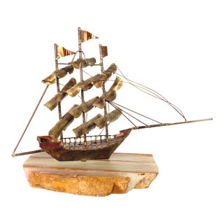 1970's Brutalist Nautical Ship Sculpture on Honey Onyx For Sale