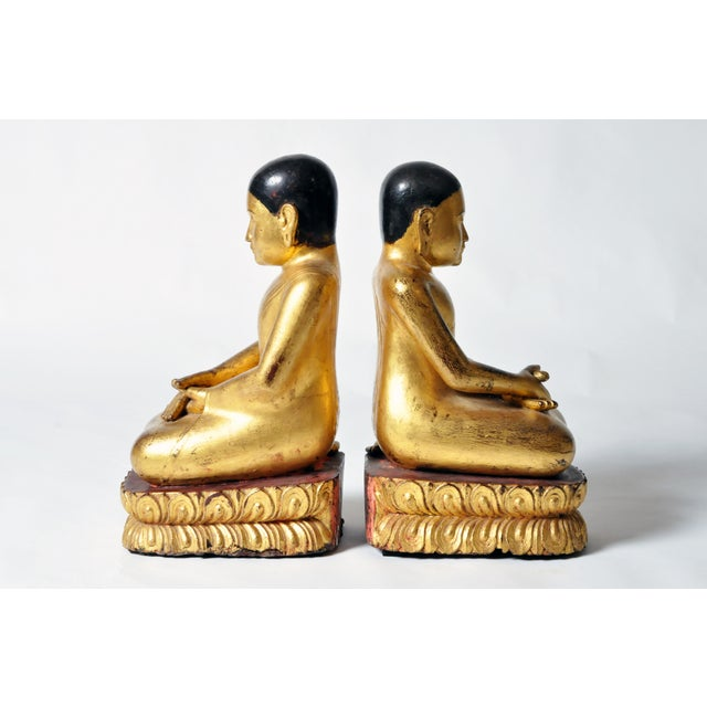 Asian Giltwood Buddhist Apostles- A Pair For Sale - Image 3 of 11