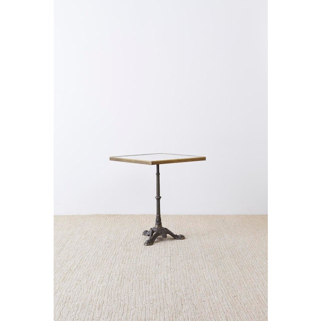 French Bronzed Iron and Faux Marble Bistro Table For Sale - Image 4 of 13