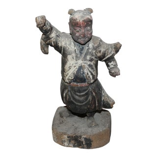 Antique Chinese Wei Tuo Skanda Buddhism Carved Teak Figurine