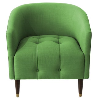 Modern Tufted Tub Chair in Linen Kelly Green For Sale
