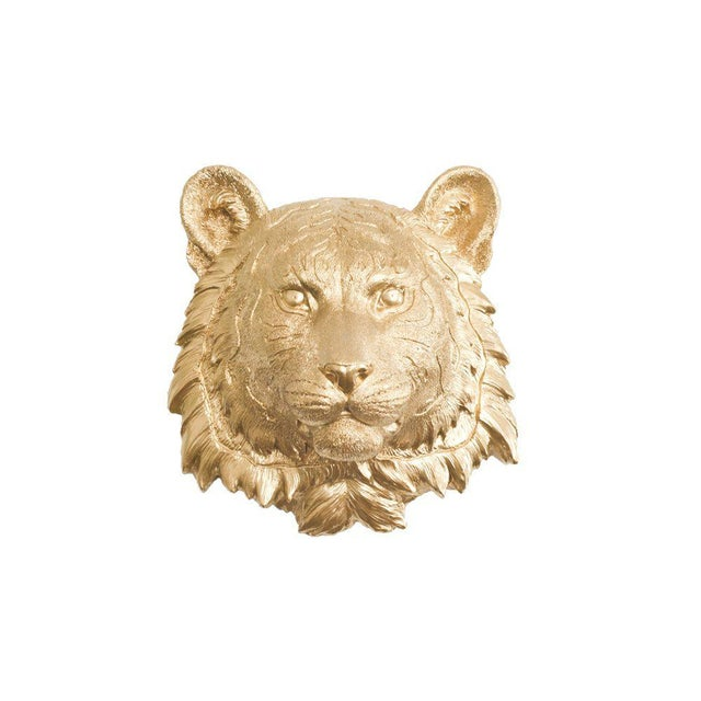 Boho Chic Wall Charmers Gold Faux Taxidermy Mini Tiger Head Wall Sculpture For Sale - Image 3 of 3