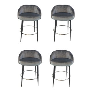 Interlude Home Modern Gray Velvet Counter Stools Set of Four For Sale