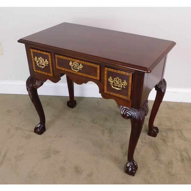 Councill Furniture Councill Craftsman Chippendale Style Banded Mahogany Claw Foot Side or Console Table For Sale - Image 4 of 13