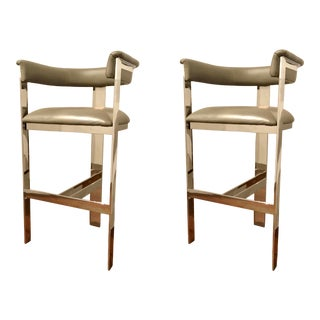 Interlude Home Modern Gray Leather Darcy Bar Stools - a Pair For Sale