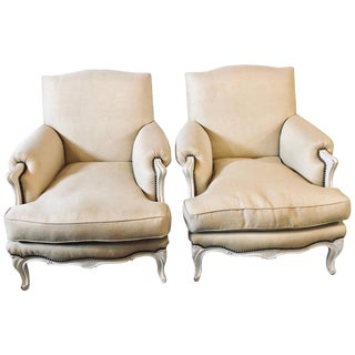 Hollywood Regency Louis XV Style Linen Bergere / Arm or Club Chairs - A Pair For Sale