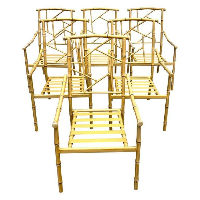 Set of Six Hollywood Regency Faux Bamboo Garden Chairs For Sale - Image 10 of 10