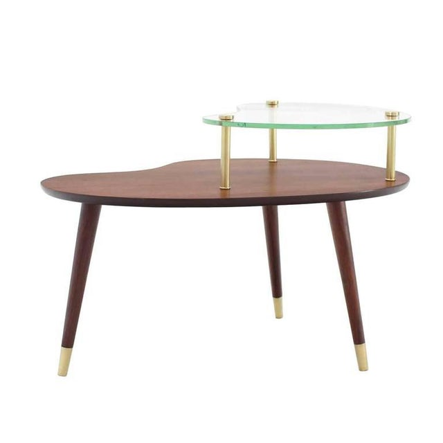 Vintage Mid Century Walnut Glass & Brass Organic Shape Side Table For Sale - Image 9 of 10