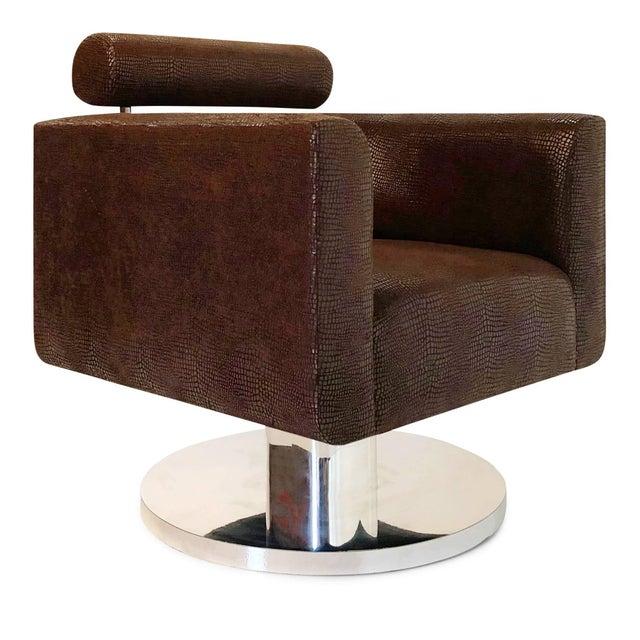 "Bauhaus Luigi Gentile ""Gigi"" Swivel Lounge Chair for Couture For Sale - Image 3 of 10"