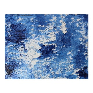 Abstract Modern Chinoiserie Blue White Textured Original Painting