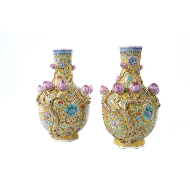 Chinese Famille Yellow & Pink Vases - A Pair - Image 2 of 9
