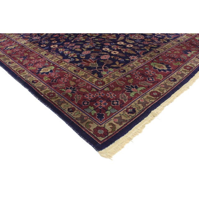 Antique Indian Area Rug with Modern Victorian Style. Rich in color, texture and beguiling ambiance, this antique Indian...