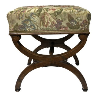 Antique French Charles X Curule Walnut Stool For Sale