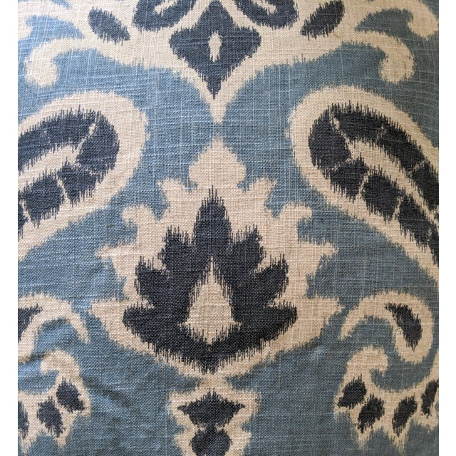 Folk Art Muted Blues Ikat Pillows - A Pair For Sale - Image 3 of 6